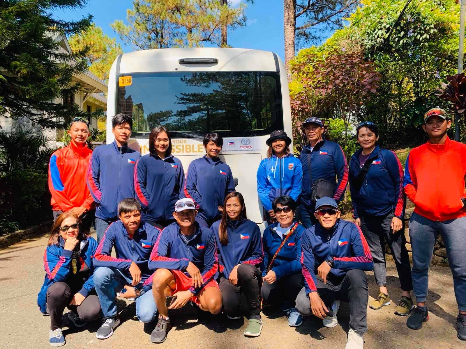 The Philippine Rowing Association during their team building activities in Baguio